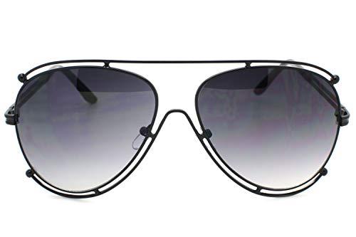 (Black Designer Inspired Double Wire Large Sunglasses Metal Frame Women)