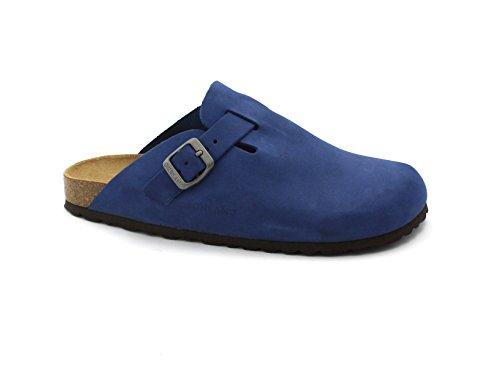 Cuir en Grunland Pantoufles Boucle Dame Bleu Pied CB7018 Blu Les qOIPw7a