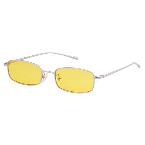 Sunglasses for Women Men Small Metal Frame Square Clear Candy Color Lens - Colored Lenses Candy