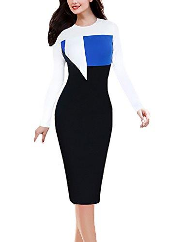 d7976ec2fc33 Cucitura Tubino Blu Manica Collo Business Matita Ginocchio Fashion Dalla  Slim Dell anca Cerimonia Vestiti Donna Lunga Del Abiti Sera Pacchetto Eleganti  Da ...