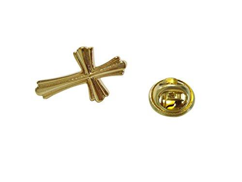 Kiola Designs Gold Toned Intricately Detailed Cross Lapel Pin