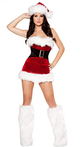 Sexy Miss Santa - WELVT Women's Miss Santa Costume Sexy Fancy Christmas Dress Suit with Hat Leg Warmers V030 XL