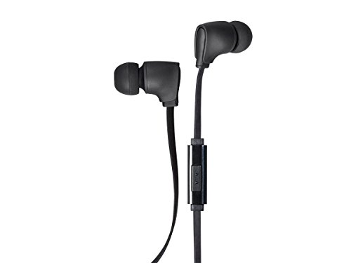 Monoprice Premium 35mm Wired Earbuds Headphones - Black with in line Microphone Tangle-Free Flat Cable for Apple iPhone iPod Android Smartphone Samsung Galaxy Tablets MP3