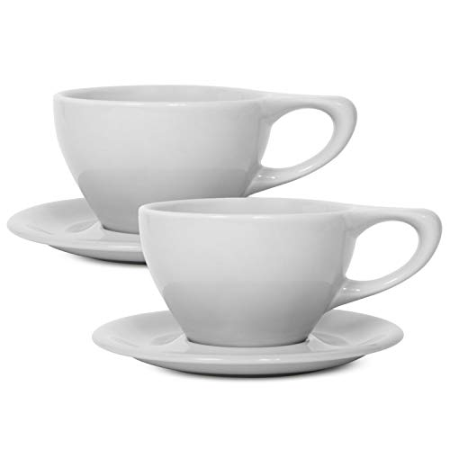 LINO Latte Cup & Saucer Gift, Set of 2, Large, White ()