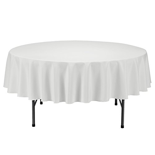 Ivory Round Tablecloths - Remedios 70-inch Round Polyester Tablecloth Table Cover - Wedding Restaurant Party Banquet Decoration, Ivory