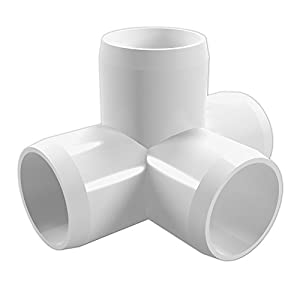 """FORMUFIT F0014WT-WH-4 4-Way Tee PVC Fitting, Furniture Grade, 1"""" Size, White (Pack of 4)"""