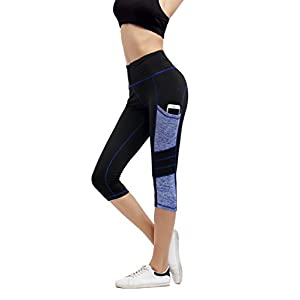 Imido Women's Yoga Capri Pants Sport Tights Workout Running Leggings With Side Pocket (XL)