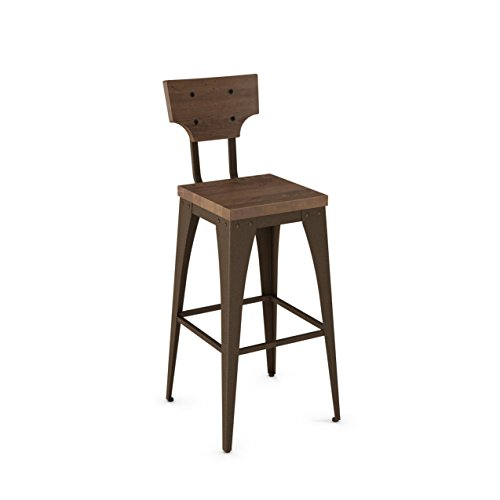 (Amisco Station Metal Bar Stool in Hammered Medium Brown Metal and Medium Brown Distressed Wood)