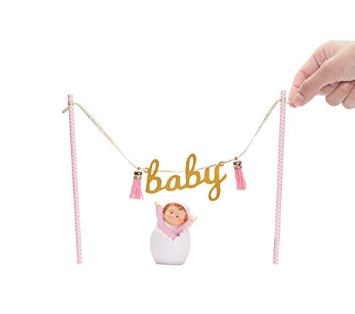 "Price comparison product image Baby Shower Cake Topper for Girl / Hanging Glittery Decorations: Gold ""Baby"" Sign,  Pink Tassels,  Small Novelty Figurine / Lightweight & Easy to Set Up / Reusable,  Ecofriendly"