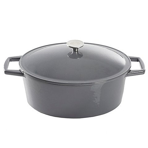 Artisanal Kitchen Supply 7 qt. Stylishly Chic Durable Sturdy Enameled Cast Iron Dutch Oven Casseroles in Grey, Pre-Seasoned, Compatible With All Stove Types Like Induction And BBQ Grills by Artisanal Kitchen Supply