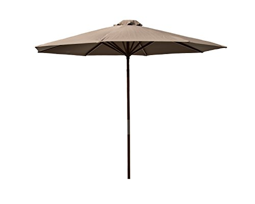 Heininger 9 Foot 1285 DestinationGear Classic Wood Chocolate 9' Market Umbrella ()