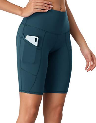 Women's Short Yoga Side Pockets High Waist Workout Running Shorts Teal XL