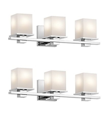 Kichler 45151CH Tully 3-Light Vanity Fixture and Satin Etched Cased Opal Glass, Finish (Chrome-2 Pack)