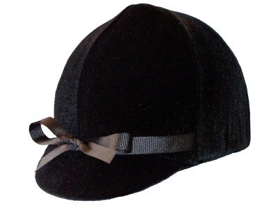 Equestrian Riding Helmet Cover - Black Velvet