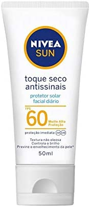 Protetor Solar Facial NIVEA SUN Toque Seco Antissinais FPS60 50ml, Nivea