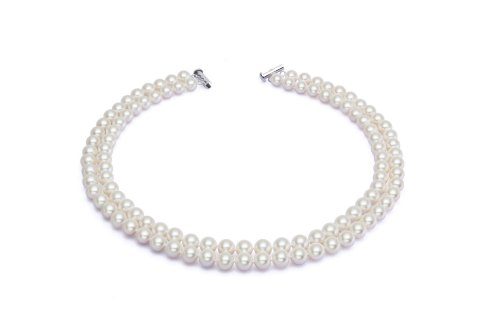 AAA 7.5-8mm White Freshwater Cultured Pearl Necklace 2 Strand 17in 18in