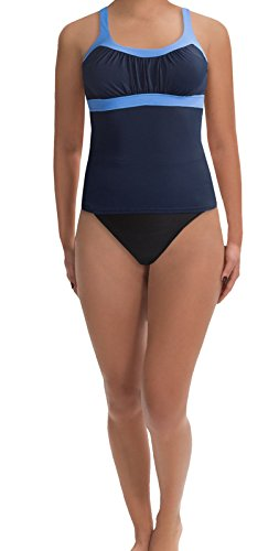 MIRACLESUIT Flattering Womens Two (2) Piece Banded Tankini Set- Blue/Black Size 10 ... - Miraclesuit Two Piece Tankini