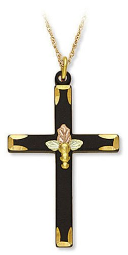 Landstroms 10k Black Hills Gold Black Enamel Cross Necklace, 18