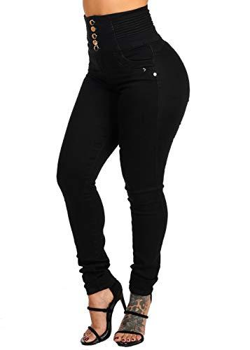 (ModaXpressOnline Ultra High Rise Levanta Cola 5 Button Solid Black Skinny Jeans)