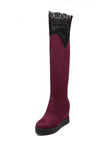 La us7 Botas Zapatos Vestido Bermellón Eu38 5 Cn38 Casual Negro Uk6 Burgundy A Fiesta Y Noche Mujer Moda Cn39 De 5 Black us8 Cuña Encaje Eu39 Xzz Uk5 Tacón dgX0zXq