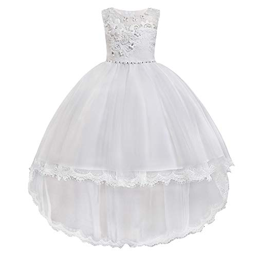 HUANQIUE Pageant Party Dresses Hi-Low Lace Flower Girl Dress White 5-6 T ()