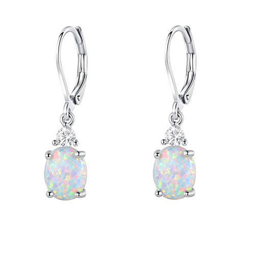 18K White Gold Plated Created Opal and Cubic Zirconia Dangle Earrings for Women (Plate Gold White 18ct)
