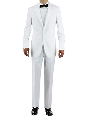 Tropical Wool Suits - GN GIORGIO NAPOLI Men's One Button Peak Lapel Adjustable Pants Tuxedo Suit (48 Long US / 58L EU/W 42