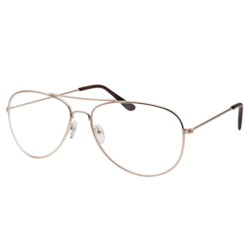 Kids Size Non-Prescription Gold Aviator Glasses Clear Lens Oversized (Age 6-12)]()