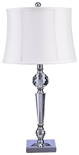 Catalina 20417-000 Camille 3-Way 28-Inch Faceted Crystal Clear Glass Table Lamp with Off White Faux Silk Bell (Crystal Glass Table)