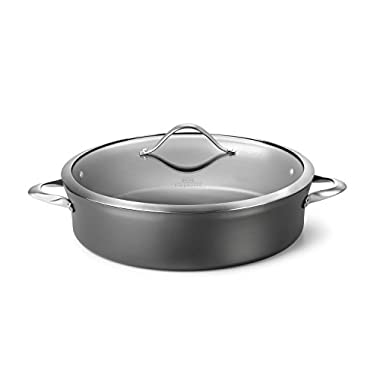 Calphalon Contemporary Hard-Anodized Aluminum Nonstick Cookware, Sauteuse Pan, 7-quart, Black