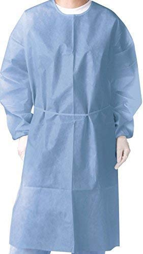 Omni Health Isolation Gown 28g, Spun-Bonded Polypropylene, Blue, 10  Piece/Pack