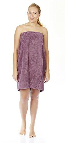 Wrap Skirt Terry - Arus Women's GOTS Certified Organic Turkish Cotton Adjustable Closure Bath Wrap S/M Plum