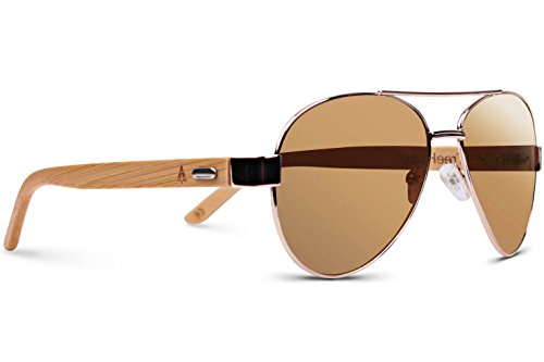 TREEHUT Wooden Bamboo Sunglasses Temples Classic Aviator Retro Metal Frame Top Gun Wood Sunglasses (Rose Gold Frame, Brown - Hut Sunglasses Sunglass