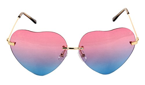 Women's Heart Shaped Rimless Sunglasses Pink to Blue Gradient Lens Unique Tortoise Arms AS-36 by - Sunglasses Shaped Pink Heart