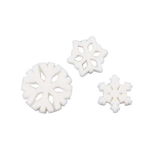 Assorted Snowflake Sugar Decorations Disney Movie Frozen Party Favors Cupcake 12 Count - Snowflake Icing Decorations
