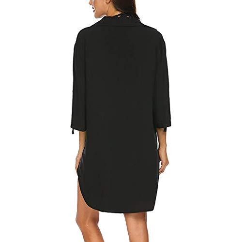 Beachwear Mini Zahuihuim Lâche Robe Cover Plage De Up Long Tops Solide Shirt Femmes Maillot Bain Blouse Black Bikini ZZ4qv