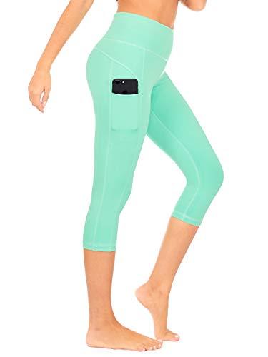 DEAR SPARKLE High Waist Yoga Capri with 3 Pockets Workout Tummy Control Running Capris Plus (S2) (Mint, Medium) ()
