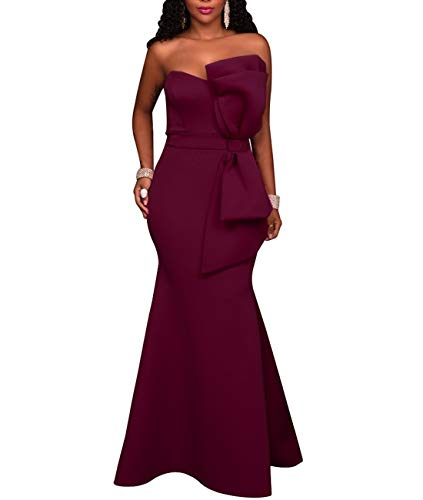 SEBOWEL Women's Elegant Off Shoulder Mermaid Formal Party Long Dress Evening Gown Dresses Wine - Evening Bow