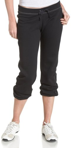 Soffe Juniors Fleece Roll Up Capri, Black, (Cropped Womens Sweatpants)