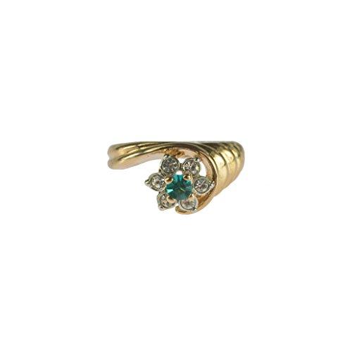 Providence Vintage Jewelry 1980's Ring Pinfire Opal Zircon Swarovski Crystal 18k Gold Electroplated 18k Gold Electroplated