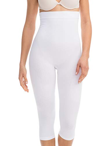FarmaCell 323 (White, XXL) Women's Compression Anti-Cellulite Capri Leggings