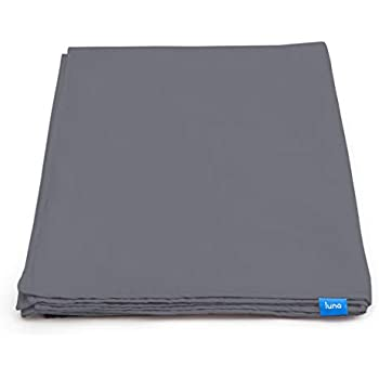 LUNA Removable Duvet Cover for Weighted Blanket | 60x80 - Queen Size | 100% Organic Oeko-Tex Cooling Cotton | Machine Washable & 8 Ties for Secure Fastening | Designed in USA | Dark Grey