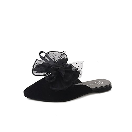 hot sell Womens Vegan Leather Flats Mule Slide Backless Shoes