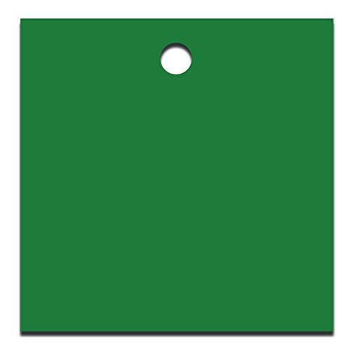"""Accuform TDG228GN Accu-Ply Plastic Blank Identification Tag, Square, 2"""" W x 2"""" L, Green (Pack of 25)"""