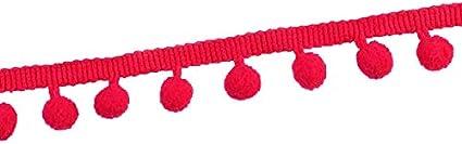 VIVIPA 20 Yards Mini Pom Pom Trim Ball Fringe Ribbon Tassel DIY Sewing Accessory Lace 2, Red