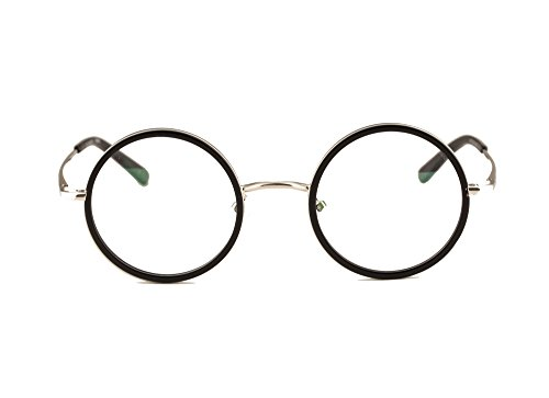 Agstum Vintage Retro Small Round Prescription Optical Eyeglass Frame (Black+Silver, 47mm)