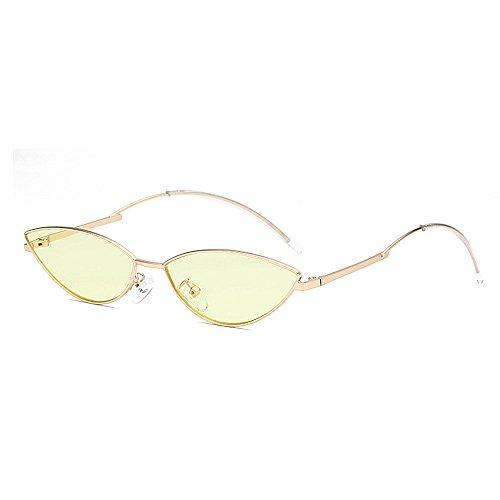 de de para Unisex de de Gafas Sol Hombres Sol pequeño PC y Gafas Personalidad de protección señora Gu Gato Ojos de Sol la UV Retro la Gafas Amarillo Lente Mujeres Amarillo Color conducción Peggy W6wPqTFgn