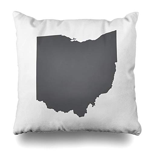 ArTmall Throw Pillow Case Toledo Cleveland Ohio Grey State Border Map Geography Abstract America American Cartography Design Zippered Pillowcase Square Size 20 x 20 Inches Home Decor Cushion Covers