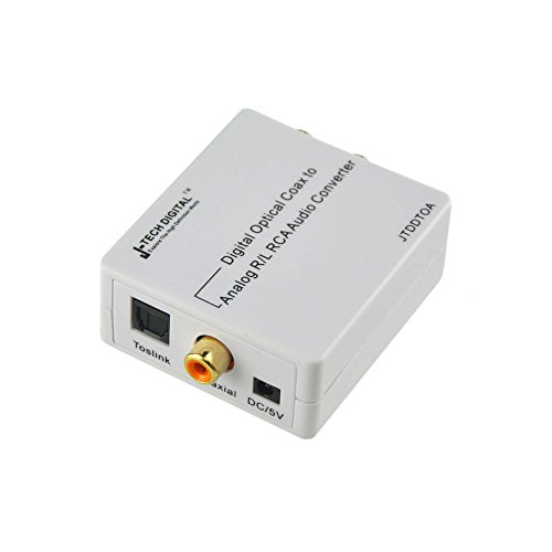 J-Tech Digital Premium Quality Optical SPDIF/Coaxial Digital to RCA L/R Analog Audio Converter with 3.5mm Jack Support Headphone/Speaker Outputs (Digital to Analog)