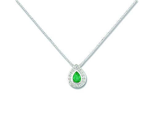 Blanc Et Or - Femme - Collier Or - Emeraude et Diamants - Reference : MN501GEB4